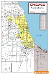 Chicago Railroad Systems Map (2009) Laminated