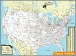 Railroads of the Continental United States Map 2014 Laminated